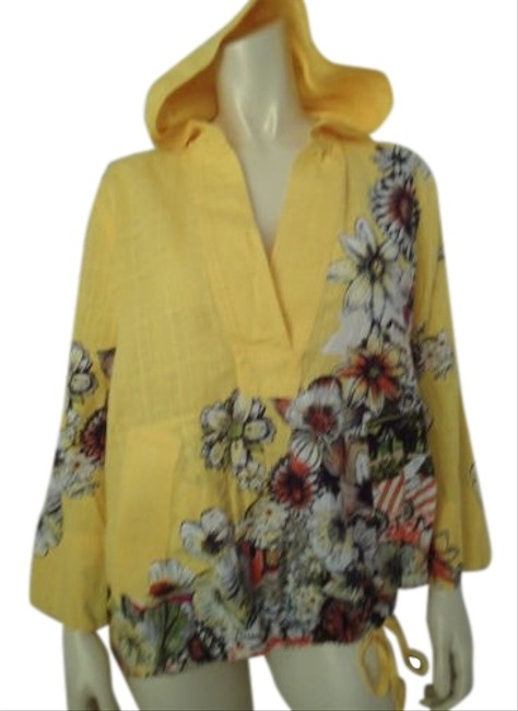 Item - Chicos Shirt Top 1 Hoodie Cotton Floral Cityscape Windbreaker Form Sheer Yellow