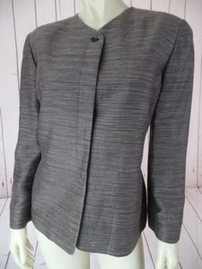 Ellen Tracy Linda Allard Ellen Tracy Blazer Linen Viscose Cotton Blend Striated Lined Chic