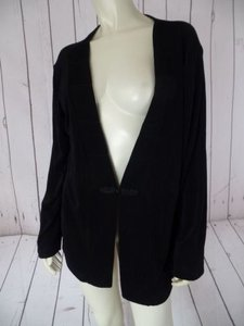 Other Chicos Travelers Top Blazer Black Slinky Knit Acetate Spandex Frog Closure Hot