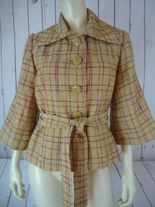Tulle Tulle Coat Blazer Yellow Plaid Wool Stretch Blend Belt Tie Retro Mod Chic