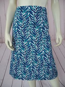 Talbots Cotton Spandex Stretch Abstract Leaf Print Chic Skirt Navy, Teal, White