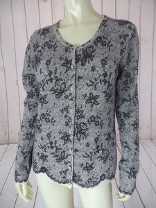 Cynthia Rowley Cashmere Button Up Cardigan Faux Lace Floral Print Chic Sweater