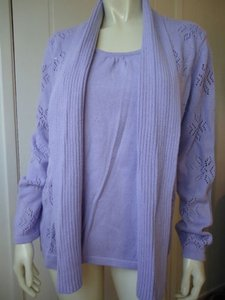 Quacker Factory Sequins Faux Lavender Chic Sweater