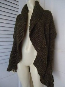 Miss Me Funky Boho Hippie Circular Open Front Drape Shawl Collar Hot Sweater