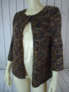 Leo & Nicole Wrap Brown Acrylic Wool Knit 34 Sleeve Boho Chic Sweater