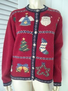 Talbots Petites Cardigan Lambswool Christmas Motif Buttons Ugly Sweater