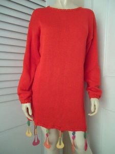 Other short dress Orange Liane Barnes Sweater Cotton Shift Plastic Multicolor Dangles Mod on Tradesy