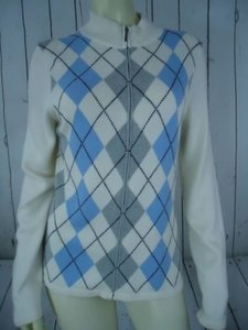 Tommy Hilfiger Zip Front Argyle Cotton Rayon Nylon Angora Blend Hot Sweater