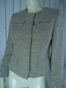 Kate Hill Kate Hill Petite Blazer 6p Linen Blend Beige Metallic Tweed Short Snap Front