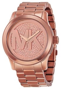 Michael Kors MK Logo Crystal Pave Dial Rose Gold Stainless Steel Designer Watch