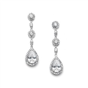 Mariell Best-selling Pear-shaped Drop Bridal Earrings With Micro-pave Cz 4505e-s
