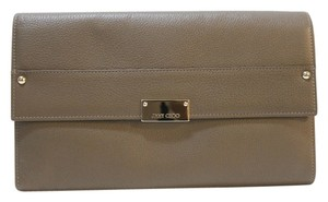 Jimmy Choo Gold Hardware Reese Light Brown Clutch