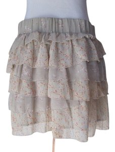 Old Navy Floral Chiffon Ruffles Shabby Chic Vintage Inspired Romantic Skirt beige