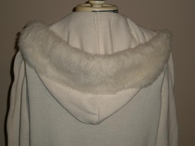 Chaps Long Sleeve *faux Fur Trimmed Hood *full Front Zipper *belted Cardigan
