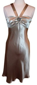 Ann Taylor LOFT Tea Length Tan Halter Size 6 Dress