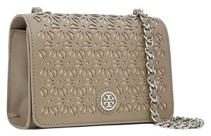 Tory Burch Chain Robinson Floral Perforated Shoulder Bag