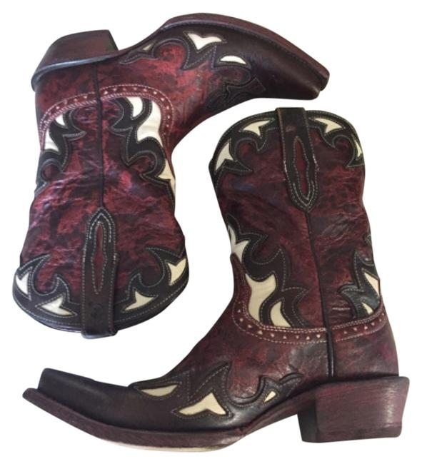 Item - Brown Red White Boots/Booties Size US 8.5 Regular (M, B)