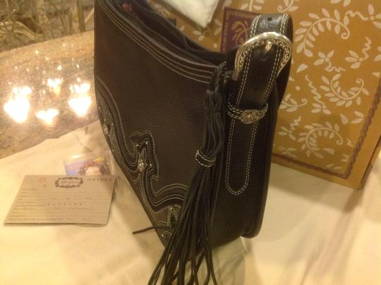 Brighton Patent Leather Crocodile Southwest Silver Embellishment Shoulder Bag
