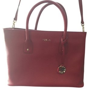 Furla Leather Structured Cabernet Tote in Red