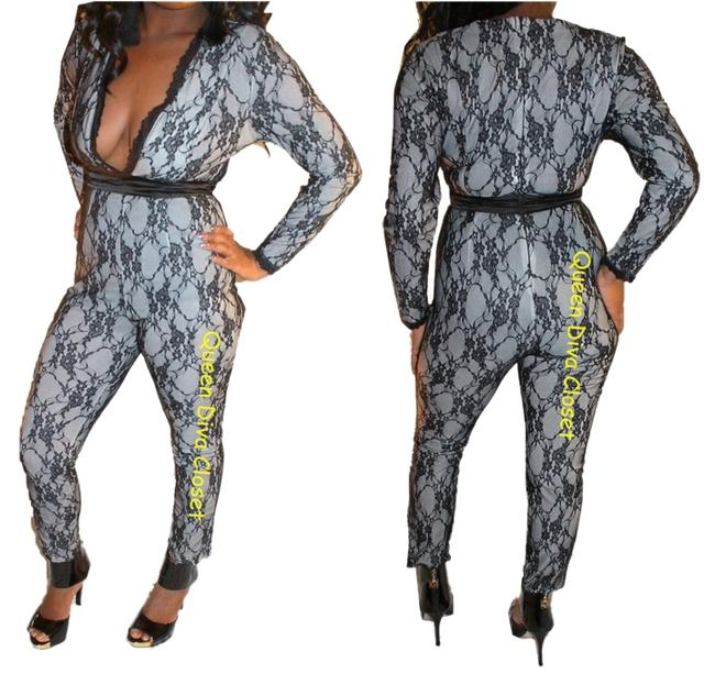 Preload https://img-static.tradesy.com/item/1372847/black-white-sexy-v-neck-lined-lace-sleeve-playsuit-ml-long-romperjumpsuit-size-6-s-0-0-650-650.jpg