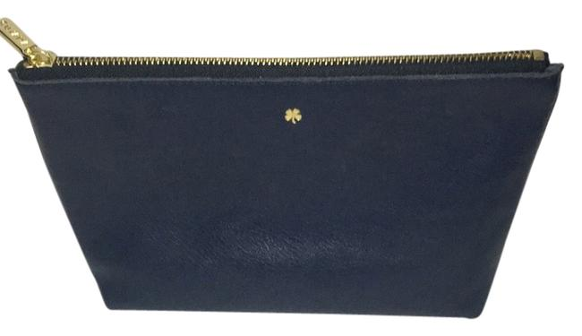 Item - Navy Leather Pouch Cosmetic Bag