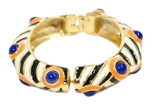 Kenneth Jay Lane Kenneth Jay Lane Gold Tone & Black White Orange Blue Enamel Zebra Polka Dot Print Clic Clac Bangle Cuff Bracelet.