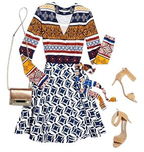 Diane von Furstenberg short dress Multi top & blue/wht skirt A-line Wrap on Tradesy