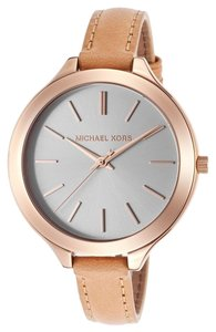 Michael Kors Rose Gold Stainless Stel Watch with Tan Leather Strap Designer Fashion Ladies Watch