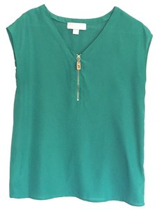 MICHAEL Michael Kors Gold Evening V-neck Detail Top Kelly green