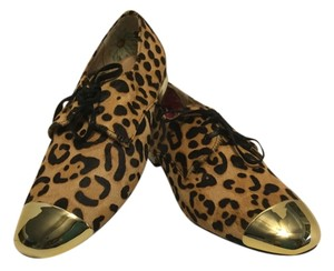 Ted Baker Dyed Bovine Hair Gold Metal Tips Black & brown leopard Flats