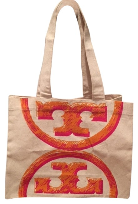 Item - Bag New Reuseable Signature Limited Edition Canvas Travel Natural with Orange Logo Cotton Tote
