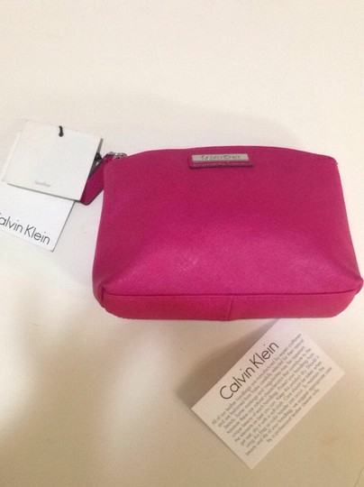 Calvin Klein CK Calvin Klein leather makeup cosmetic bag Pink Fuschia new with tag