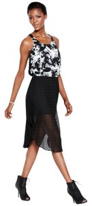 Black/White Maxi Dress by Rachel Roy Mixed-media High-low Eyelet
