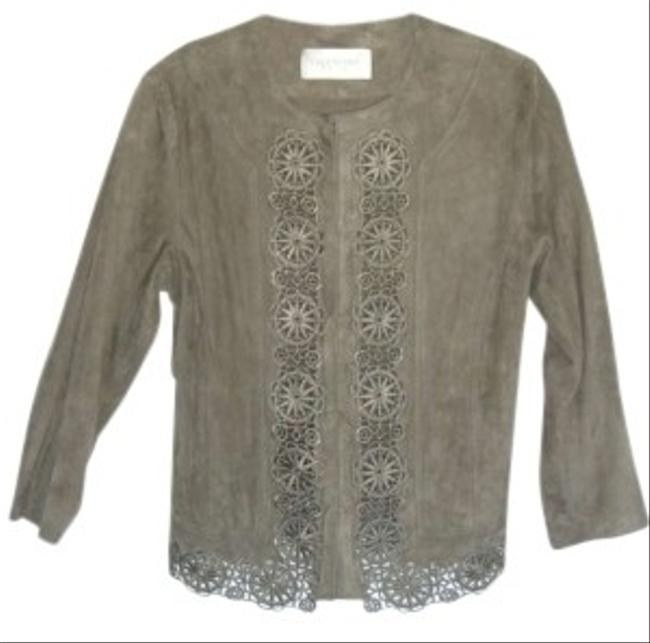 Valentino Lightweight Suede Embroidery Like New Taupe Leather Jacket