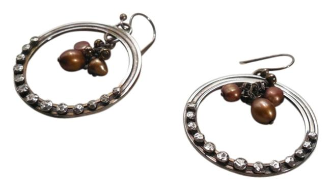 Item - Bronze Sterling Silver Oxidized Brass Pearl Wire Retired W1897 Earrings