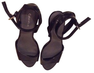 Calvin Klein Strappy Ck Shiny Black Sandals