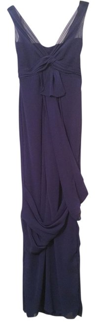 Item - Blue Evening Prom Polyester Simple Long Formal Dress Size 4 (S)