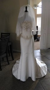 Demetrios Demitrios Cream Beaded Mermaid Wedding Dress