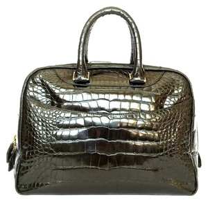 Suarez Alligator Tote Satchel in black