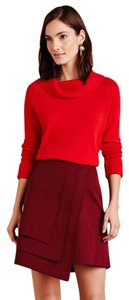 Anthropologie Mini Skirt Merlot red