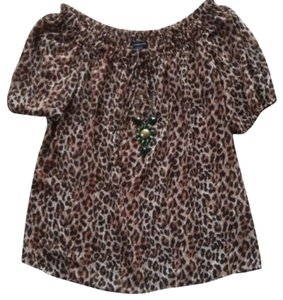 Moda International Victorias Secret Leopard Beaded Top Black & Brown