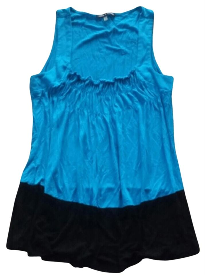 Cable & Gauge Blue Ruched Shirt Tank Top/Cami Size 6 (S) - Tradesy