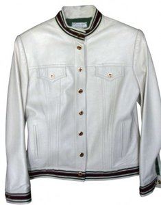 St. John Leather Classic Creamy white Leather Jacket