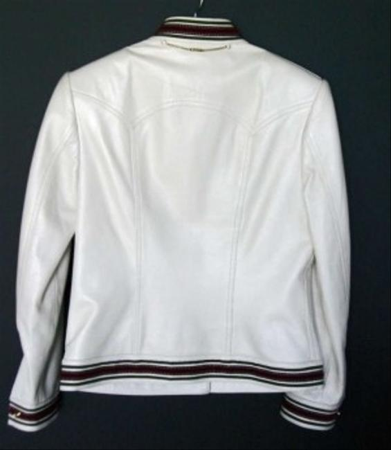 St. John Leather Classic Slight Iridescence Perfect Condition Creamy white Leather Jacket