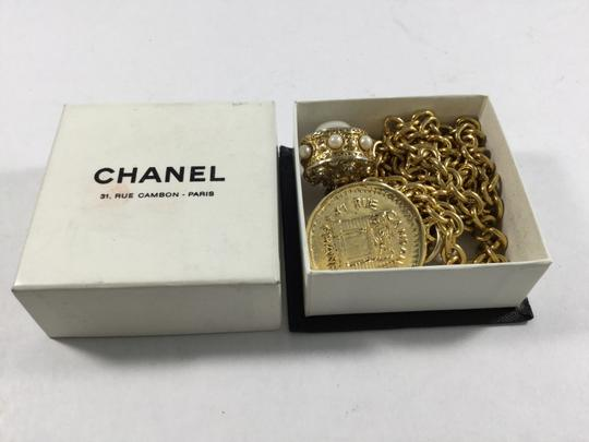 Chanel Vintage Double Gold Chain Necklace With Charms