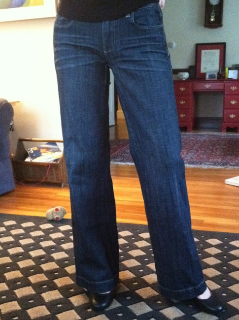 J.Crew Dark Stretch Flare Leg Jeans-Dark Rinse