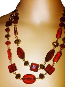 Charter Club NEW NO TAG Charter Club RED 2 Row Frontal beaded bib Necklace ADJUSTABLE