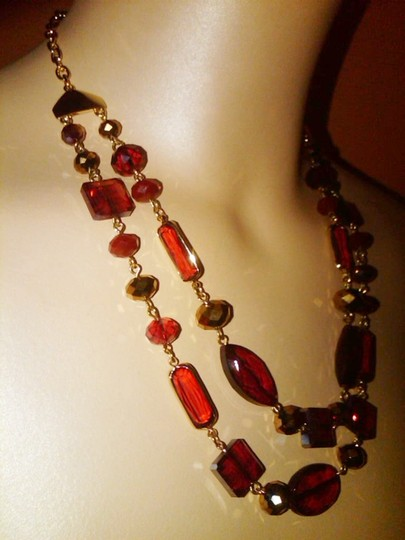Charter Club NEW NO TAG RED 2 Row Frontal beaded bib Necklace ADJUSTABLE