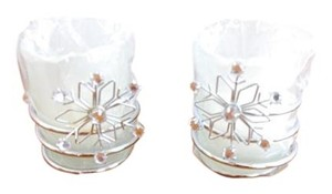 NEW in Box Set of Two Silver Metal Votives with Crystal Snowflake and Candles
