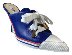 Moschino Laceup Sneaker Heels Blue Mules